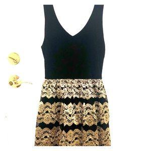 Love Ady Black Gold Floral Dress